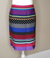 J McLaughlin Striped Multicolor Lined Pencil  Skirt Size 14