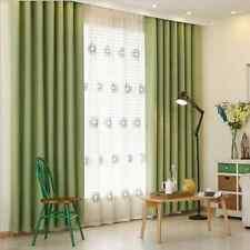 2 x GREEN Blockout Eyelet Curtains 180cm x 230cm (Drop) LIGHT GREEN
