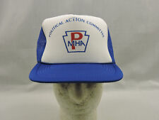 Vintage Trucker Hat Ball Cap Blue Mesh Snapback Polictical Action Committee PMHA