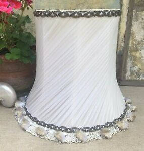 VINTAGE PALE PINK, WHITE PLEATED CHIFFON TASSELED TABLE LAMP SHADE~BOUDOIR STYLE