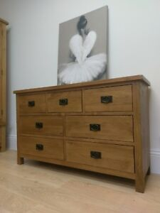 Baysdale Oak Large Wide 3 Over 4 Chest Of Drawers / Rustic Bedroom Furniture