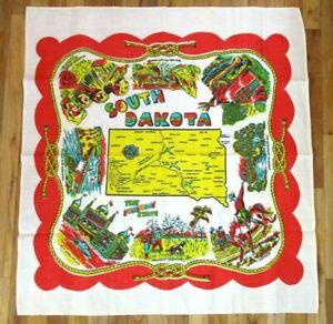Vintage Linen Tablecloth Tea Towel SOUTH DAKOTA souvenir 34x37