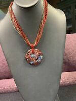 "Vintage Bohemian 18"" Millefiori Red Glass Colored seed bead Bib Pendant necklace"
