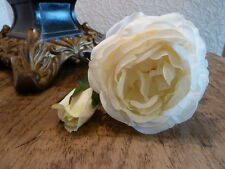 Antique White / Ivory Rose, Artificial Luxury Faux Silk Flowers, Vintage Roses