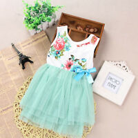 Kids Girls Toddler Baby Princess Tutu Dress Bow Flower Dance Skirt Vest Sundress