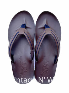 Abercrombie Fitch Mens Dark Brown/ Navy Stripe Leather Flip Flop Thong Sandal