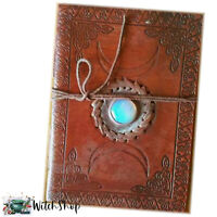 "TRIPLE MOON MOONSTONE Book of Shadows Blank Leather 5x7"" Wicca Witch BOS Journal"