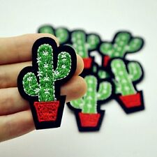 1Pc Cute Cactus Plant Patch For Clothing Iron on Embroidered Sew Applique DIY