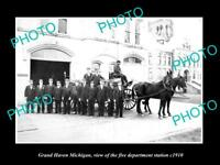 OLD LARGE HISTORIC PHOTO OF GRAND HAVEN MICHIGAN, FIRE DEPARTMENT STATION c1910