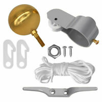 """Flag Pole Parts Repair Kit 2"""" Pulley 3"""" Gold Ball Cleat Clip Halyard Rope Tool"""