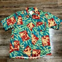 Mens Banana Cabana Button up Large Silk Floral Short Sleeve Hawaiian Tropical