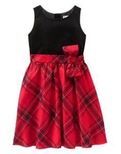 NWT Gymboree ROYAL RED Plaid Dress 4,5,6 Christmas Girls