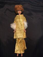 New ListingVintage 1958 Midge Barbie Auburn Bubble Hair Doll w/ Gold Gown Fur Cuffs
