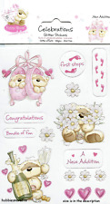 DOVECRAFT FIZZY MOON GLITTER STICKERS -  FZST03 - NEW BABY GIRL - NEW ADDITION