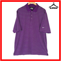 Nike Golf Mens Polo Shirt M Medium Purple Dri Fit T-Shirt White Striped Tour