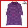 Nike Golf Mens Polo Shirt M Medium Purple Dri Fit T-Shirt White Striped Tour