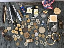 Huge Vintage Junk Drawer Lot Coins Pens Military Tokens Lighters Pocketknives