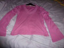 LADIES RASPBERRY LONG BELL SLEEVE TEE SHIRT TOP-SCOOP NECK FROM M&S SIZE M