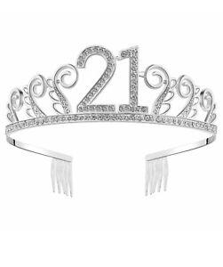 BABEYOND Crystal Birthday Tiara Rhinestone Princess Crown Silver Diamante 21 st