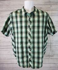 prAna Mens Shirt Sz Large Pearl Snap Green Black Plaid Organic Cotton