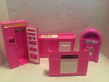 1990 Barbie Doll Refrigerator Stove Sink Kitchen Furniture Arco Jukebox Lot