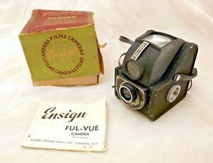 Vintage Ensign Ful-Vue I Black Enamel Metal Box Camera +Box +Manual
