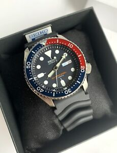 SKX009J1 Automatic Diver Pepsi Bezel Black Rubber Strap Watch Japan Made