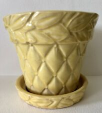 Vintage 1950s McCoy Pottery Yellow Quilted Rose Diamond Planter Flower Pot Med