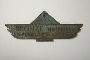 Bronze Memorials Sign (P3L) Manufacturer Advertisement 1920s King Tut Egyptian