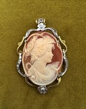 Ciondolo cammeo stile antico montatura oro e argento corniola made in italy