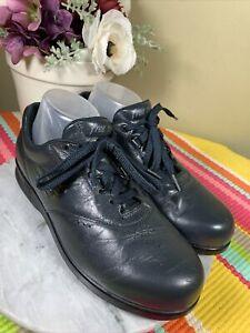 SAS Free Time Black Navy Blue Leather Oxford Tripod Comfort Shoes Women's US 9 M