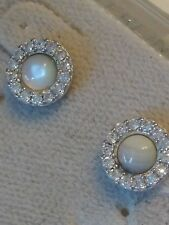 .925 STERLING SILVER Traditional Stud Earrings cubic zirconia CZ Rhodium Plated