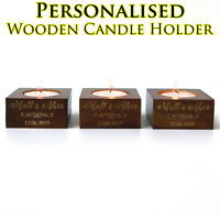Personalised wooden tea light candle holder fine wedding party home bar decor a