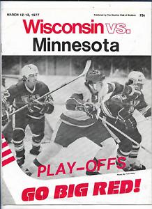 March 12-13 1977 WISCONSIN vs MINNESOTA College Hockey Program (JS)