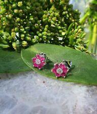 Flower Shaped 18ct White Gold Ruby & Diamond Earrings