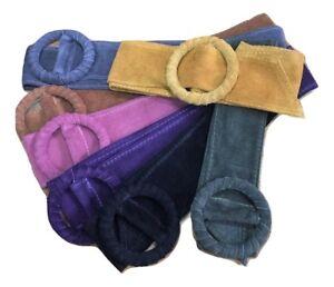Cintura FUSCIACCA cinta Donna FASCIA LARGA VERA PELLE scamosciata jeans BEIGE