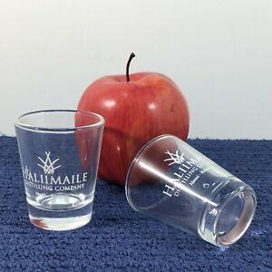 2 Haliimaile Distilling Company Clear Shot Glasses w/ Pineapple Logo Maui Hawaii
