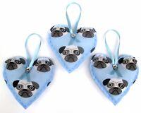3 x LARGE BLUE PUG HANDMADE SHABBY CHIC HANGING FABRIC HEARTS 4.5ins / 12cm