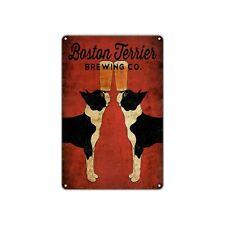 Boston Terrier Brewing Co Decor Art Shop Man Cave Bar Vintage Retro Metal Sign