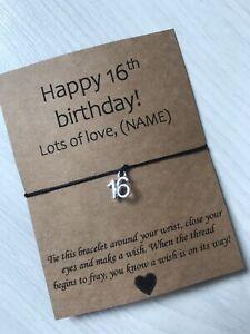 🎁 Personalised Happy 16th Birthday friendship Wish bracelet Present Gift 🎁