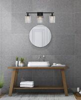CRYSTAL WALL SCONCE BLACK BATHROOM VANITY BEDROOM DINING ROOM HALLWAY 3 LIGHT