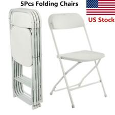 5Pcs White Folding Chairs Fabric Seat Metal Frame Home Office Portable Plastic