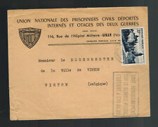 1952 France Cover to belgium Union of Prisoners of War POW Deportees of Both War