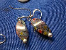 Silver Italy Glass Earrings Grandmas Estate 925 Sterling