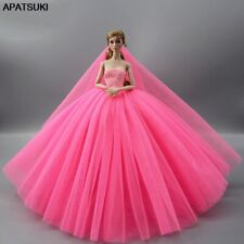 Hot Pink Doll Dress For 11.5inch Doll Clothes High Quality Evening Gown Outfits
