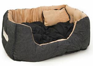 Hundebett braun schwarz 52 cm Luxus Tierbett Katzenbett Hundekissen Hunde Bett