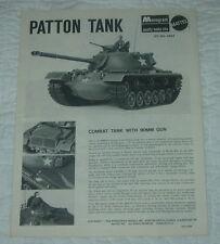 MONOGRAM  PATTON TANK  MODEL KIT INSTRUCTIONS ONLY  1966  6863