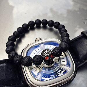 Luxury Mens Micro Inlay Zircon Skull Lava Stone Bead Beaded Charm Bracelets 8mm
