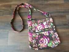 Vera Bradley English Rose Hipster Crossbody Bag Brown Floral Purse Quilted
