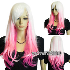 Ombre White Pink Party Wigs Heat Safe Long Wavy Curly Hair Full Wigs Cosplay Wig